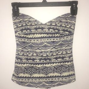 Blue and White Tribal Printed Tube Top